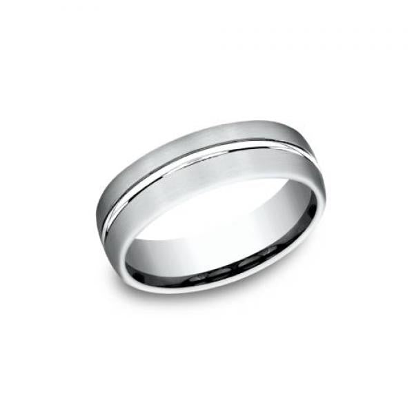 Benchmark: Ammara Stone Satin Finish White Gold Men's Wedding Ring