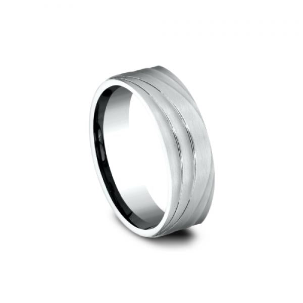 7mm 14 karat white gold ring with sculptural wave design satin finish