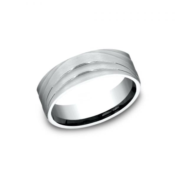 Benchmark: Ammara Stone Triple Wave Patterned Men's Wedding Ring