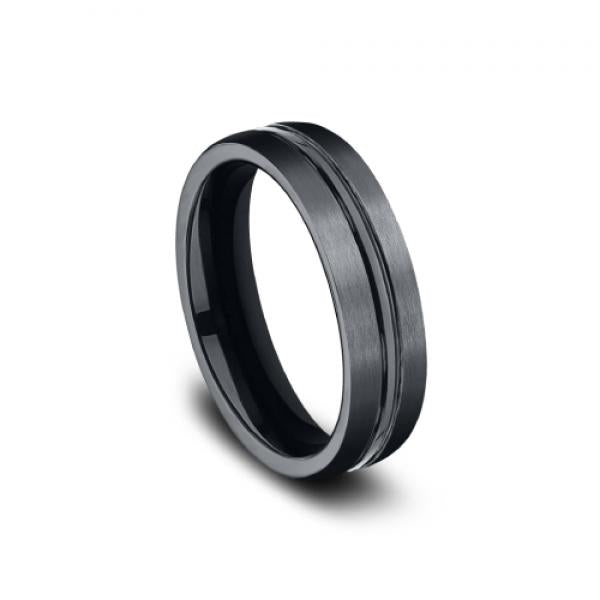 Benchmark Satin Finish Men's Wedding Ring with a Center Groove