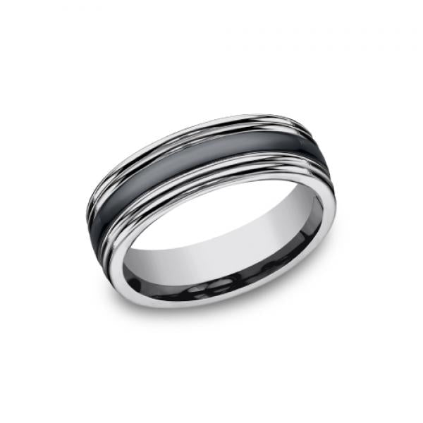 7mm tungsten and black ceramic inlay ring with double edges