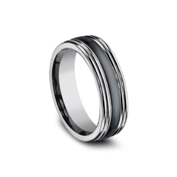 Benchmark: Ammara Stone 7mm Tungsten & Black Ceramic Inlay High Polish Men's Ring