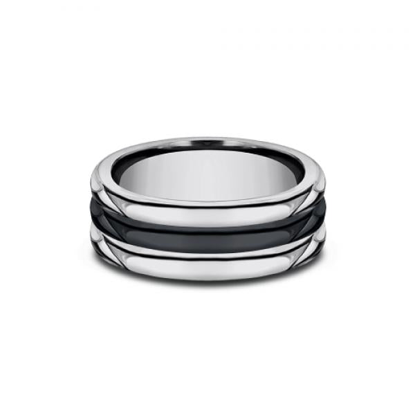 Benchmark 8.5mm Tungsten & Black Ceramic Inlay Men's Ring