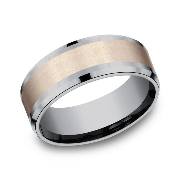 Benchmark: Ammara Stone Mens Two-tone 14K Tantalum Wedding Ring