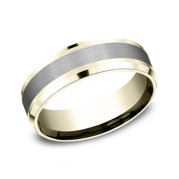 7mm 14 karat yellow gold and grey tantalum ring with satin finish inlay
