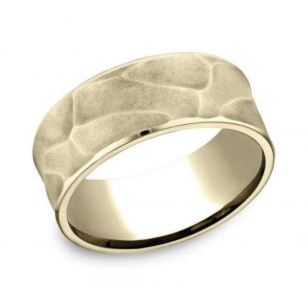Benchmark 9mm 14k Yellow Gold Carved Textured Men's Ring
