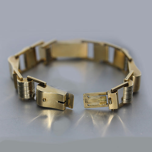 14 karat yellow gold, chunky link, hinged estate bracelet