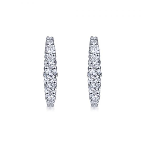 Gabriel & Co. 14K White Gold 15mm Classic Diamond Hoop Earrings