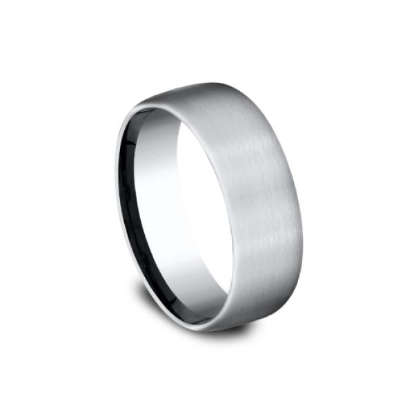 6mm satin finish grey titanium ring with parallel lines inlay