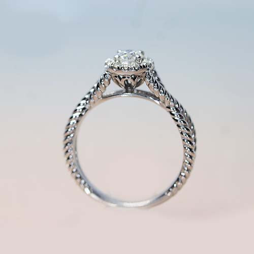 Gabriel & Co. 14K White Gold Halo Engagement Ring with Twisted Band