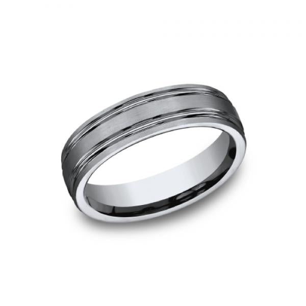 Benchmark Men's 6mm Parallel Groove Satin Finish Wedding Ring