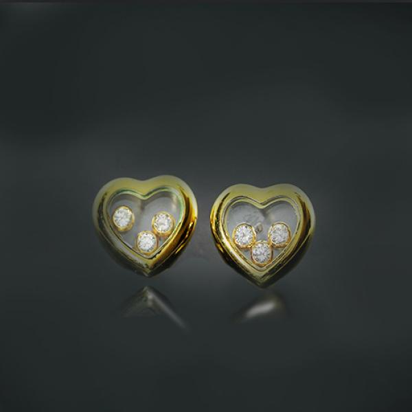 Pre-Owned 18k Yellow Gold Heart Shaped Floating Diamond Stud Earrings