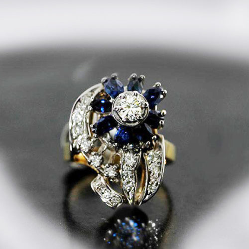 Vintage 14k White Gold Sapphire and Diamond Flower Ring