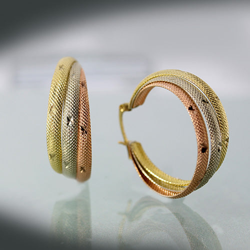 Estate tri-colour hoop earrings 10 K