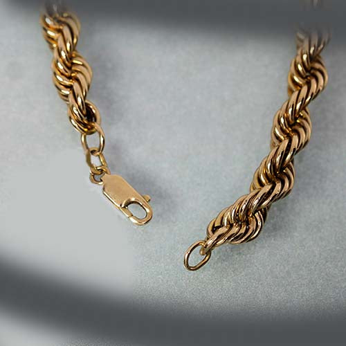 vintage 10kt yellow gold rope chain