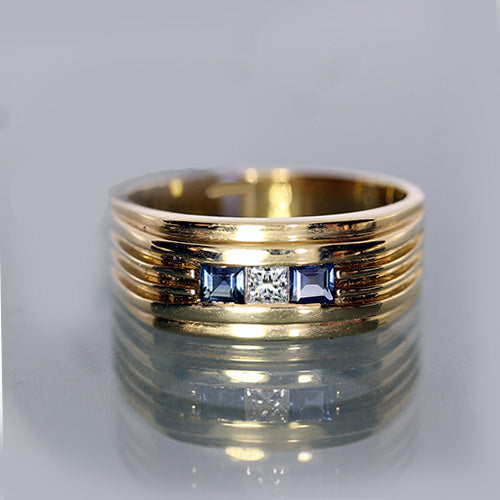 Estate 14k Sapphire and Diamond Mens Ring