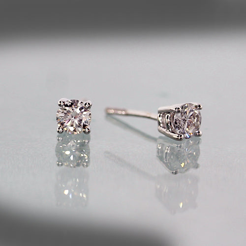 14 karat white gold 0.36 total carat weight diamond, estate stud earrings