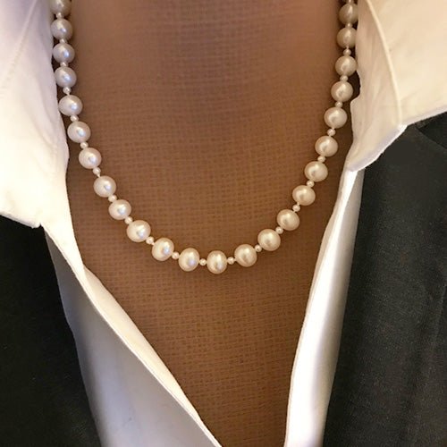 Sterling silver, freshwater pearl, estate strand necklace