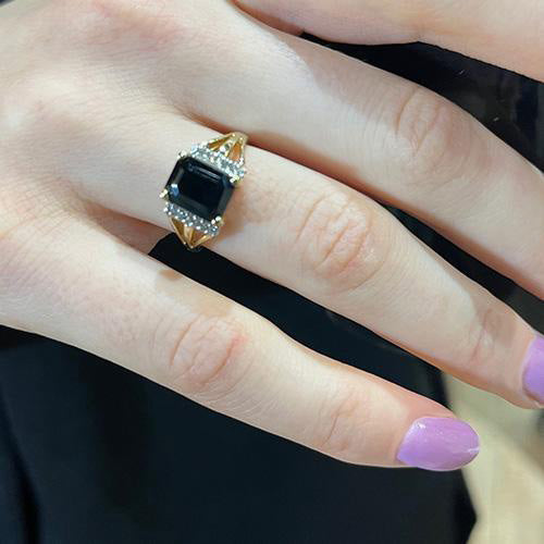 Estate Black Sapphire and Diamond Ring