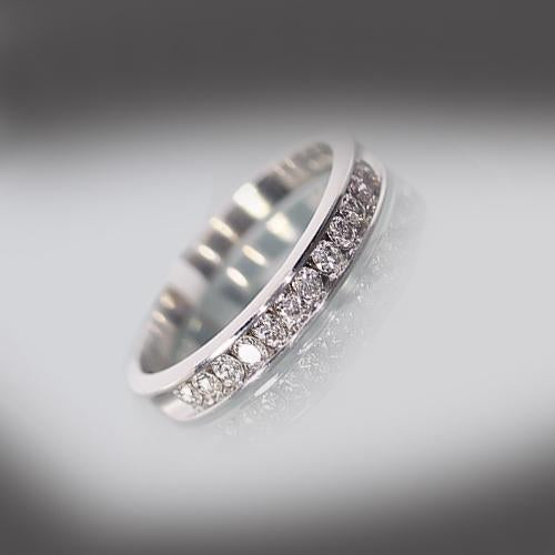 Estate 10k White Gold 12 Diamond Channel Set Ring