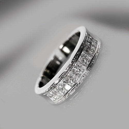 18 karat white gold, princess cut diamonds, double row channel set, engraving detail, estate ring