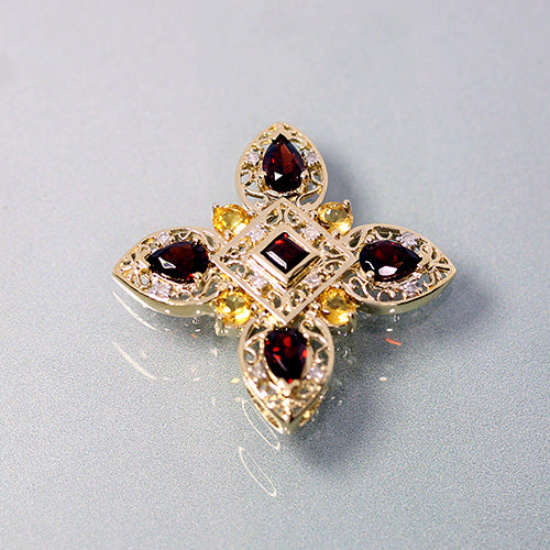 14 karat yellow gold, garnet, citrine and diamond gemstones, vintage slider pendant