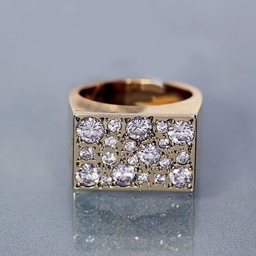 estate 14k gold diamond pave set mens ring
