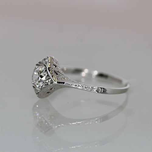 vintage old europe cut diamond set in etched 14k white gold engagement ring
