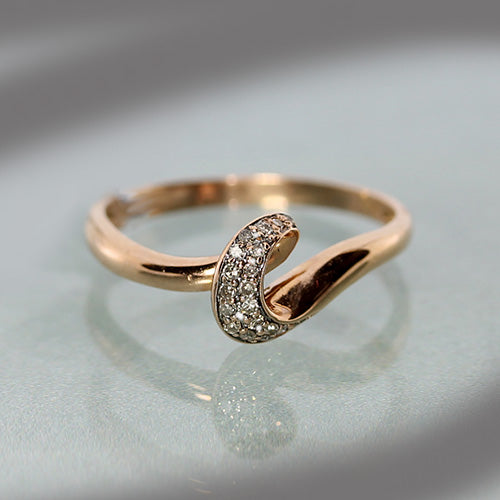 14 karat rose gold, diamond, swirl design, estate ring