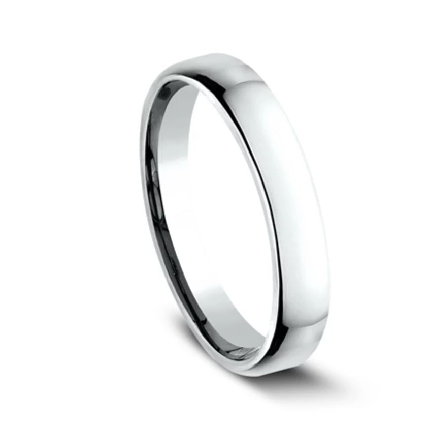 3.5mm 18 karat white gold classic ring with a high polish finish