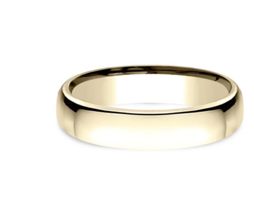 4.5mm 14 karat yellow gold classic ring with a high polish finish