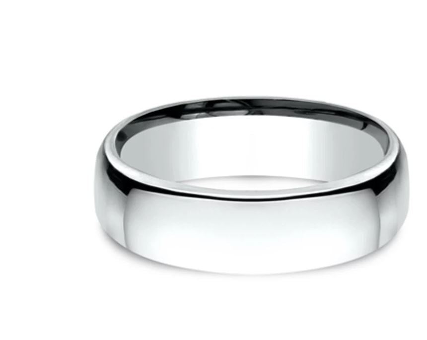 6.5mm 10K White Gold Mens Comfort Fit Ring