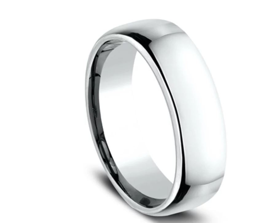 6.5mm 14K White Gold Comfort Fit Ring