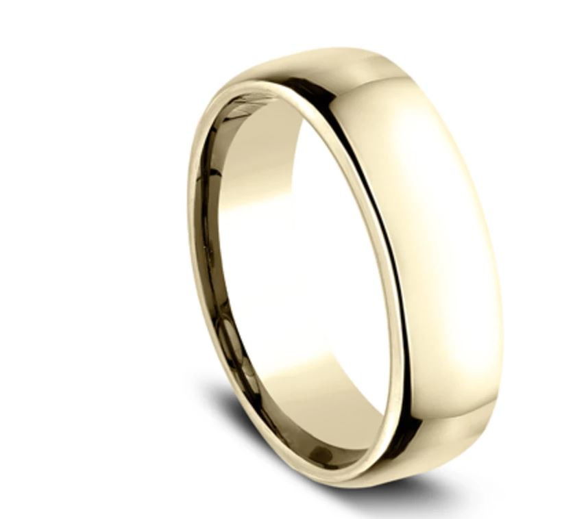 6.5mm 14 karat yellow gold classic ring with a high polish finish