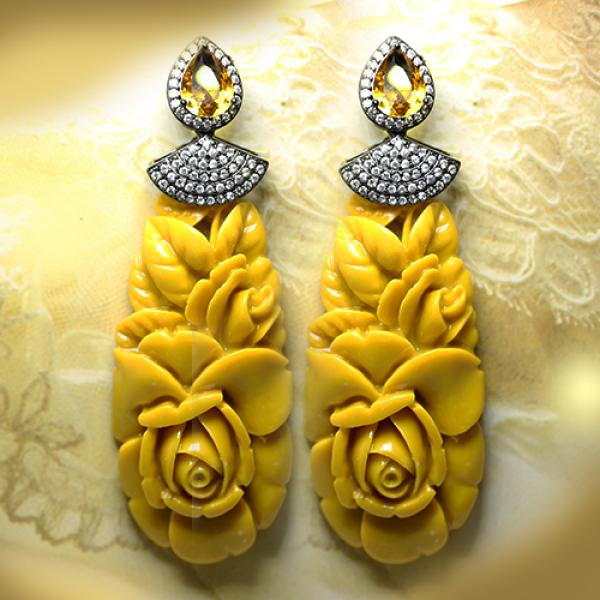 Yellow Resin Flower Drop Fashion Statement Drop Earrings