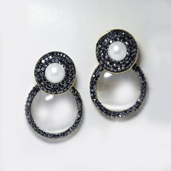 Circle Design Pearlized & Hematite Fashion Statement Drop Earrings