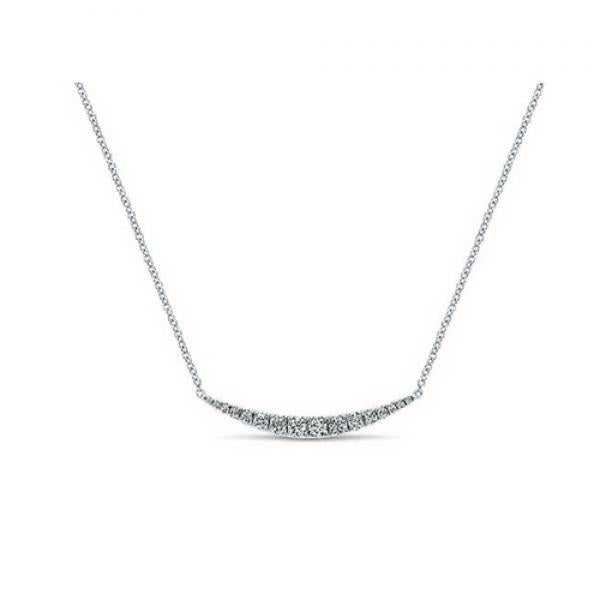 Gabriel & Co. 14k White Gold Curved Diamond Bar Necklace