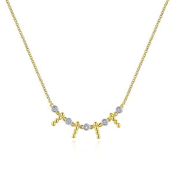 Gabriel & Co. 14k Yellow Gold Bead & Diamond Necklace