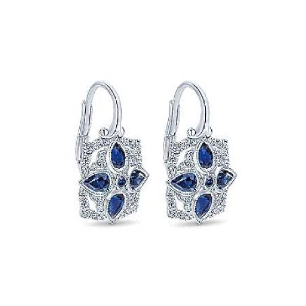 Gabriel & Co. Vintage Inspired Diamond and Sapphire Drop Earrings in 14k
