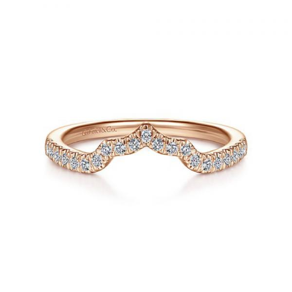 Gabriel & Co. 14k Rose Gold Starlight Curved Wedding Band