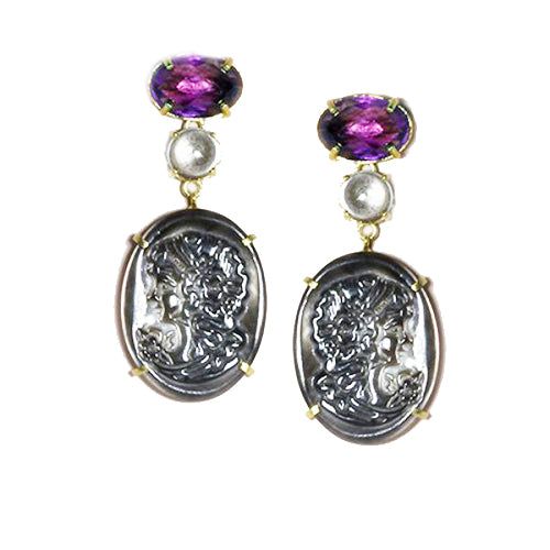 Cameo-Inspired Sterling Silver Drop Earrings with Amethyst and Blue Topaz