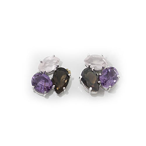 Petit Bijoux Sterling Silver Amethyst and Quartz Stone Stud Cluster Earrings