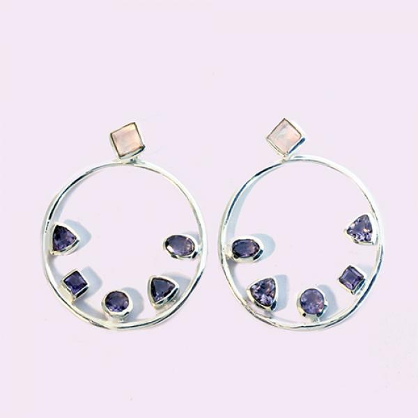 Petit Bijoux Sterling Silver Rose Quartz Stud with Amethyst Open Circle Earring Enhancers