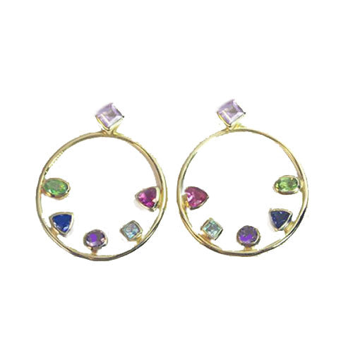Petit Bijoux 18k Yellow Gold Plate Sterling Silver Multi-Gemstone Open Circle Stud Earrings with Enhancers