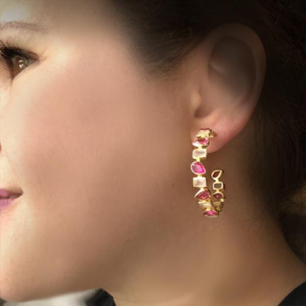 Petit Bijoux 18k Yellow Gold Plate Sterling Silver Pink Hydro Tourmaline, Pink Jade & Rose Quartz Gemstone Hoop Earrings