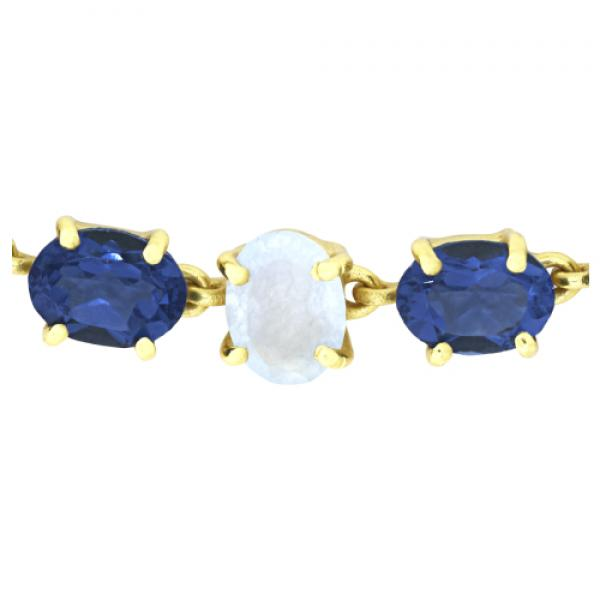 Petit Bijoux 18k Yellow Gold Plate Sterling Silver Blue Iolite and Light Chalcedony Jade Adjustable Bracelet