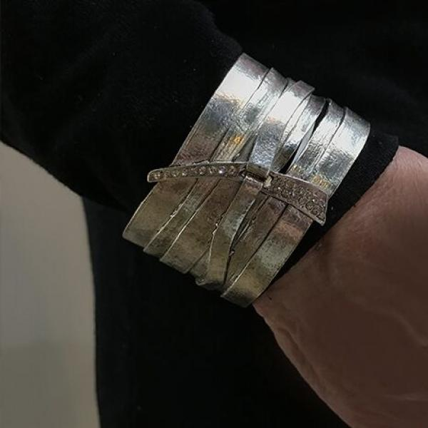 Karine Sultan Multirow Embellished Cuff in Silver-Plate