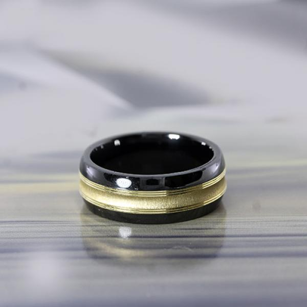 Madani 8.5mm Black Ceramic & 10k Yellow Gold Concave Inlay Men's Ring