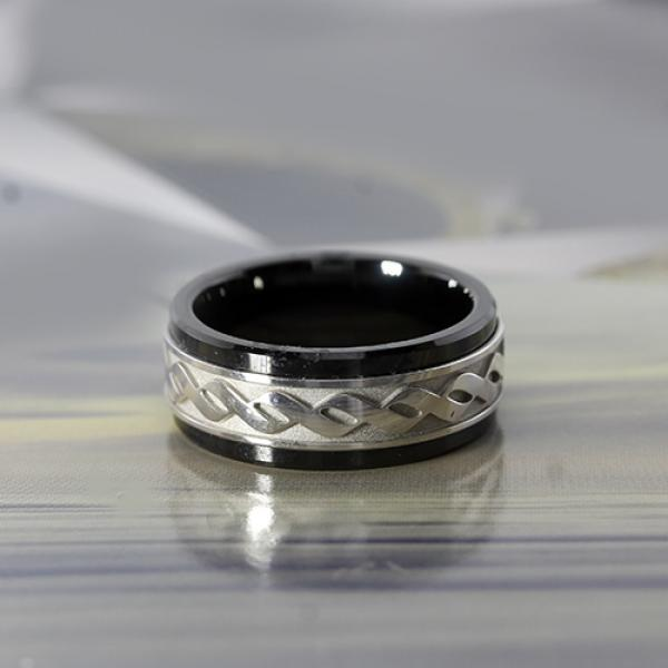 Madani 9mm Black Ceramic & 10k White Gold Infinity Design Inlay Men's Ring
