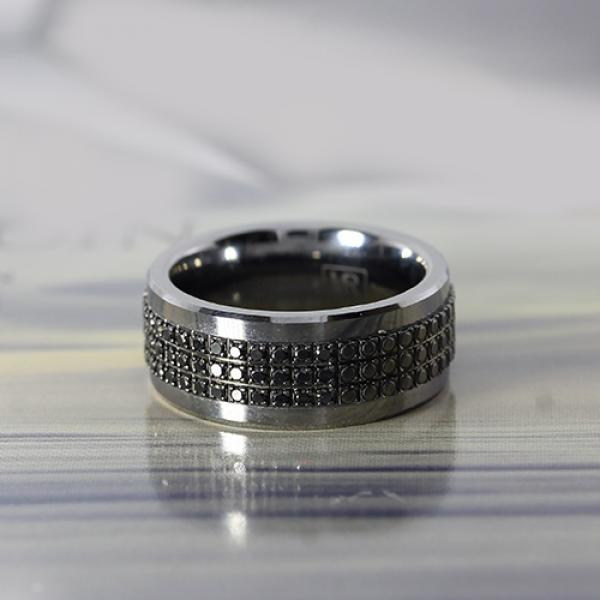 9mm tungsten and black diamond pave ring by madani